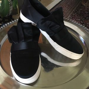 White & Black Satin Ruffle Slip On Sneaker Shoes